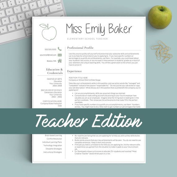Teacher Resume Template for Word and Pages The Apple - Instant - apple resume templates