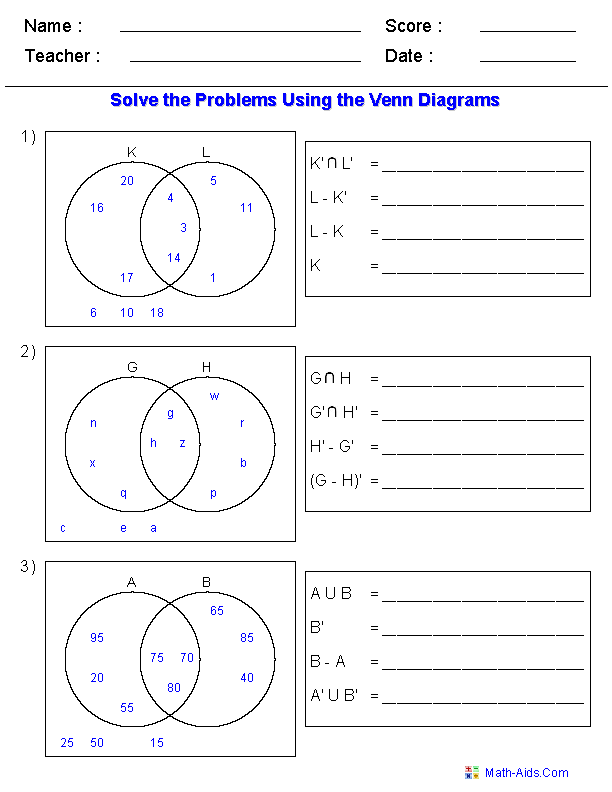 venn diagram set notation worksheet