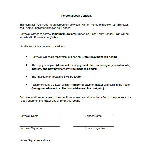 Personal Loan Contract Word , 23+ Simple Contract Template and - simple contract template