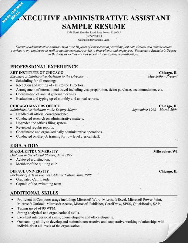 Executive Administrative Assistant Resume (resumecompanion - office assistant sample resume