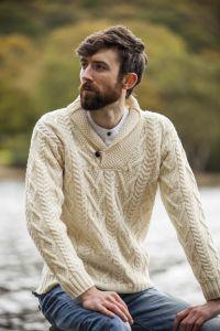 Merino Wool Mens Aran Shawl Collar | Aran Sweaters for Men ...