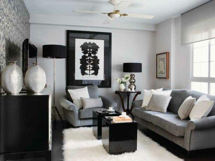Small living room set up grey nuances velvet fur carpet white - white living room sets