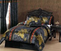 7pcs Black Gold Red Palace Dragon Jacquard Comforter Set ...