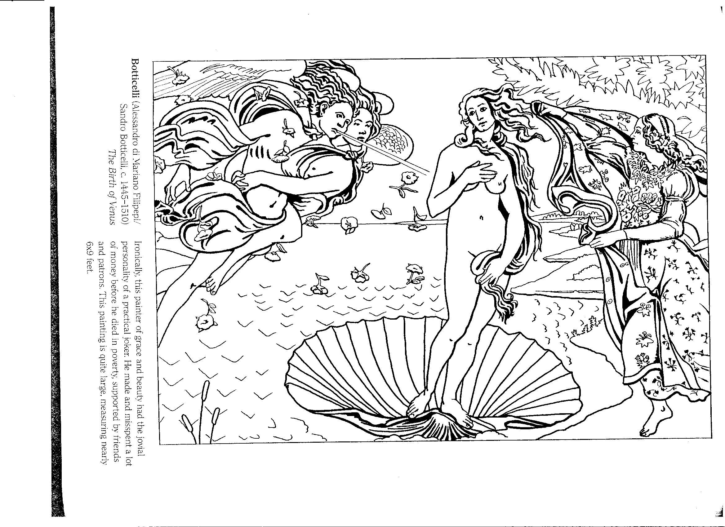 Birth of venus 2338 1700 colouring sheetsvenuscolor