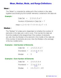 Mean Mode Median Worksheets