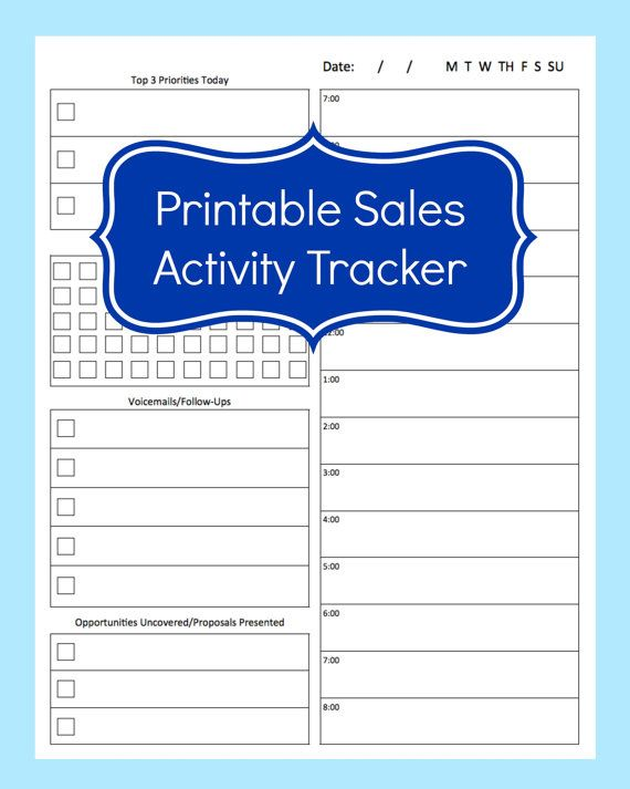 Sales Activity Tracker Daily Planner, Cold Call Tracker Template - daily planner sheets