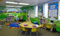 Colorful and inspiring classroom. Love the murals