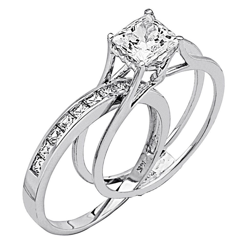 camo wedding band sets Wedding Rings For Women Princess Cut 14K White Gold High Poliosh Finish Princess cut Ring