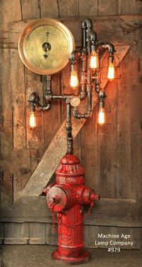 Steampunk Industrial Fire Hydrant, Steam Gauge Floor Lamp ...