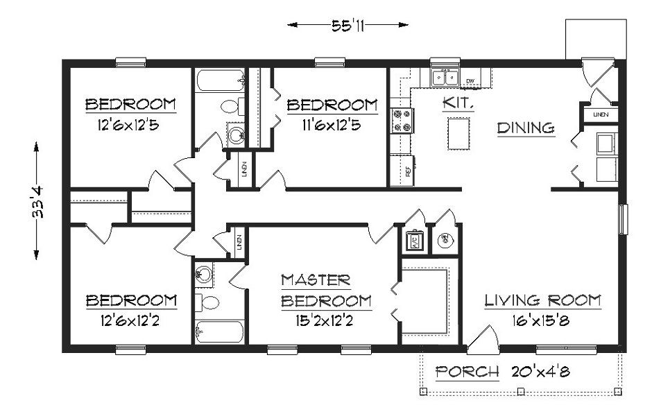 Simple One Floor House Plans Plan 1624, floor plan house plans - simple home designs