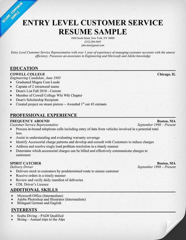 Entry Level Customer Service Resume (resumecompanion) #Student - resume companion