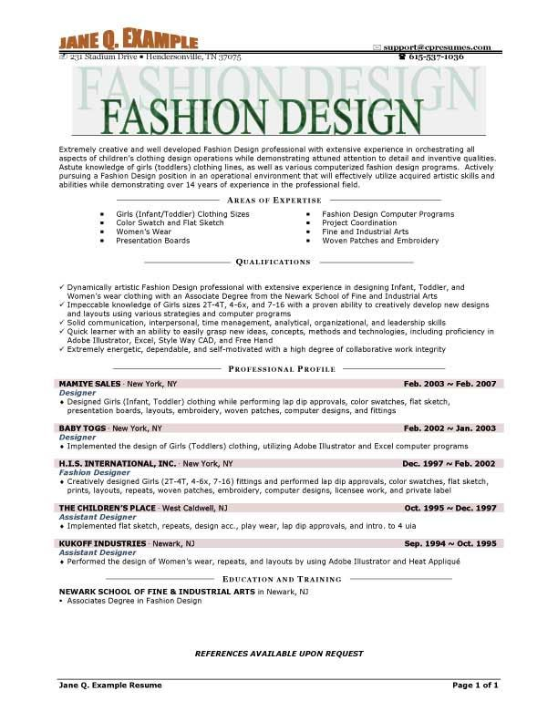 Best Fashion Resume Examples Do you ever think to get career in - areas of expertise examples