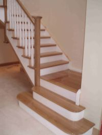 oak and white staircase