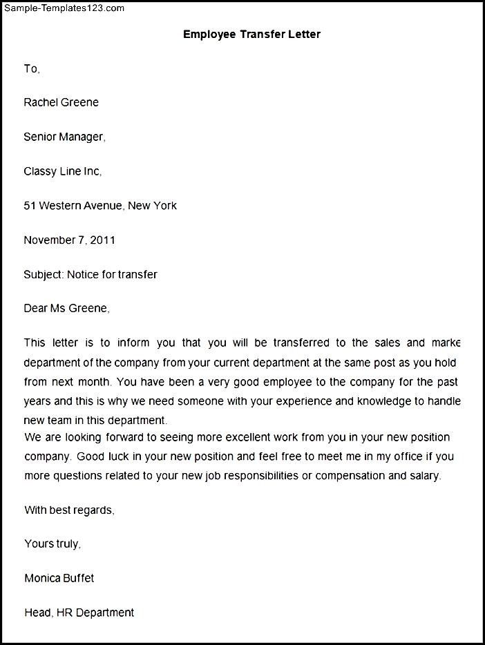 employee transfer letter template sample templates write intent - letter of intent for employment template