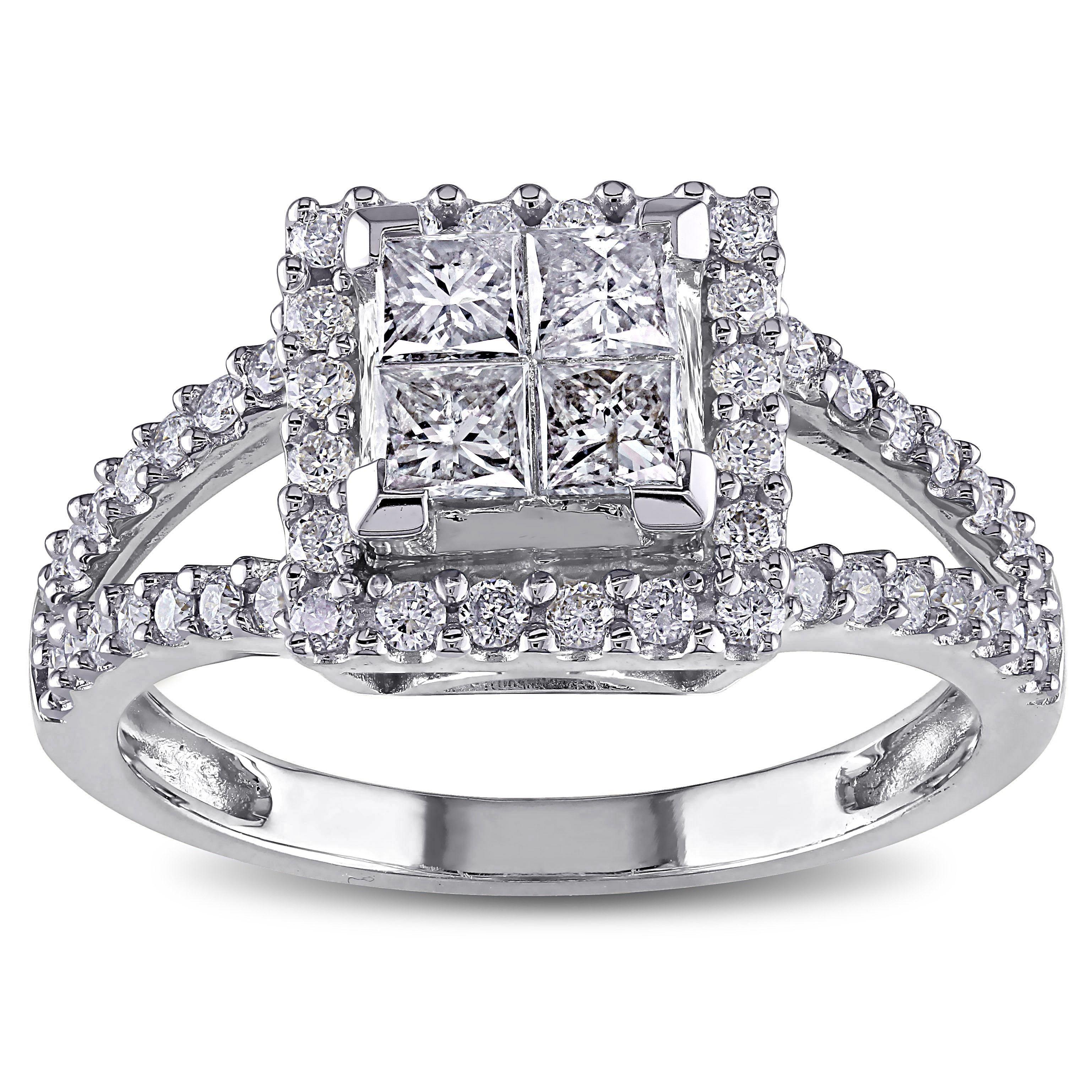 Miadora signature collection 14k white gold 1ct tdw diamond princess cut halo engagement ring h i
