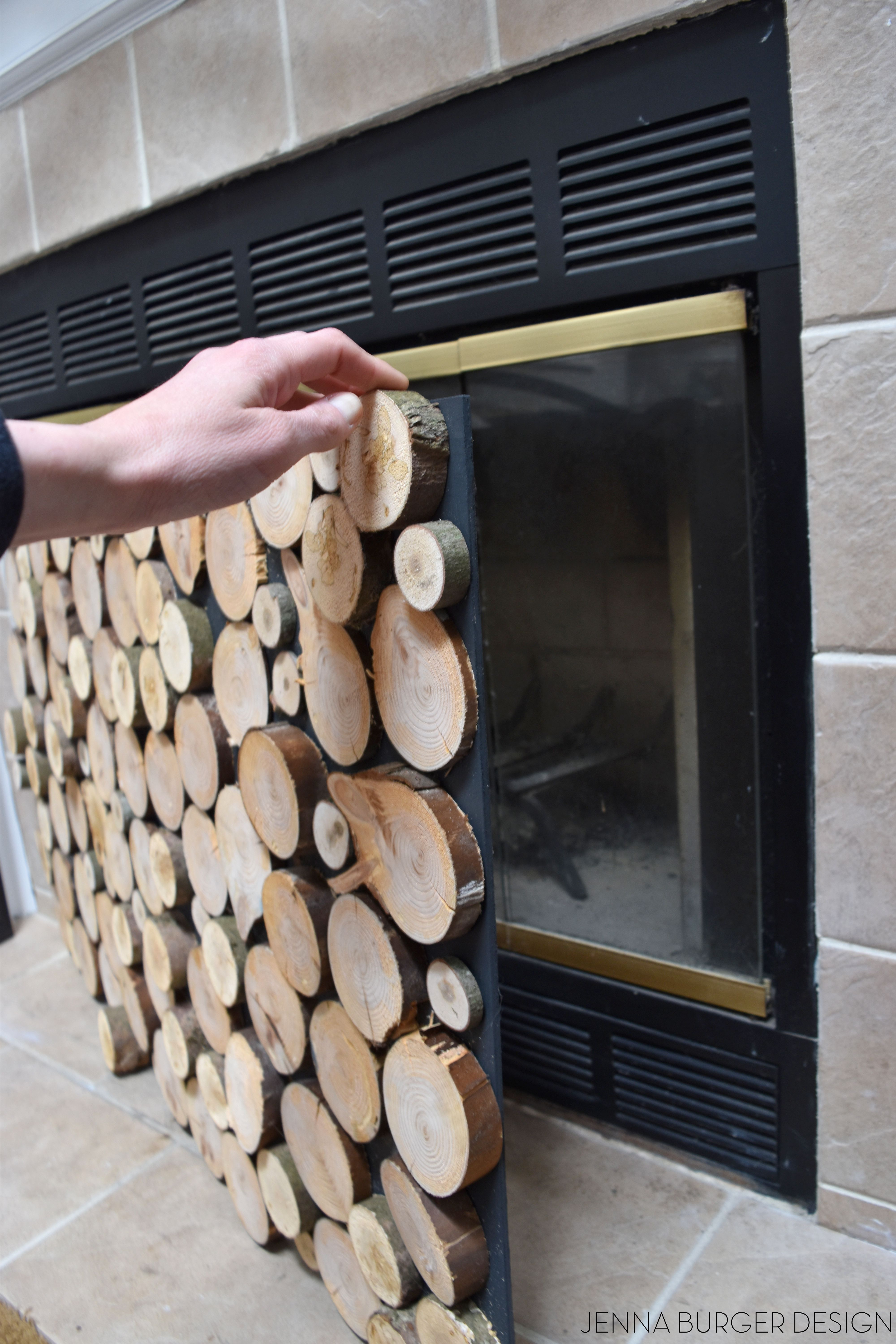 Cover Brick Fireplace With Wood Panels Diy Tutorial On How To Make A Faux Stacked Log Fireplace
