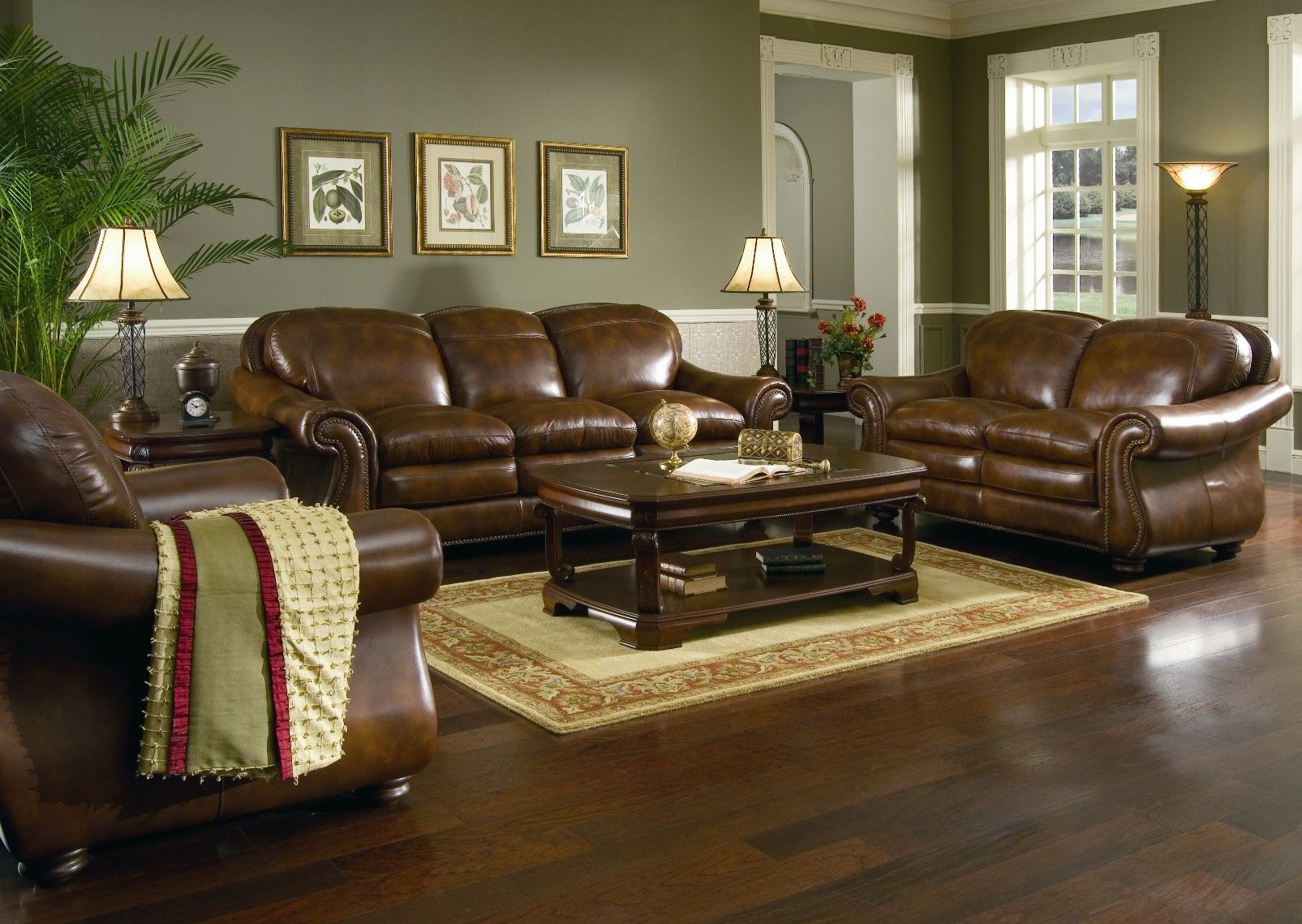 Leather living room furniture in living room with brown leather sofa home design and decorating ideas