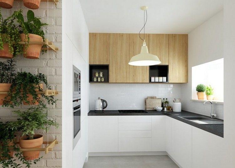 Kleine Küche In L Form In Weiß, Schwarz Und Holz Offene Küche   Farbe