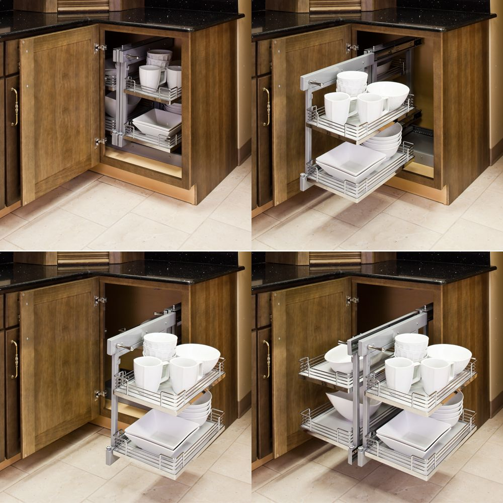 Blind corner organizers get use out of the empty wasted space in your blind corner kitchen cabinet