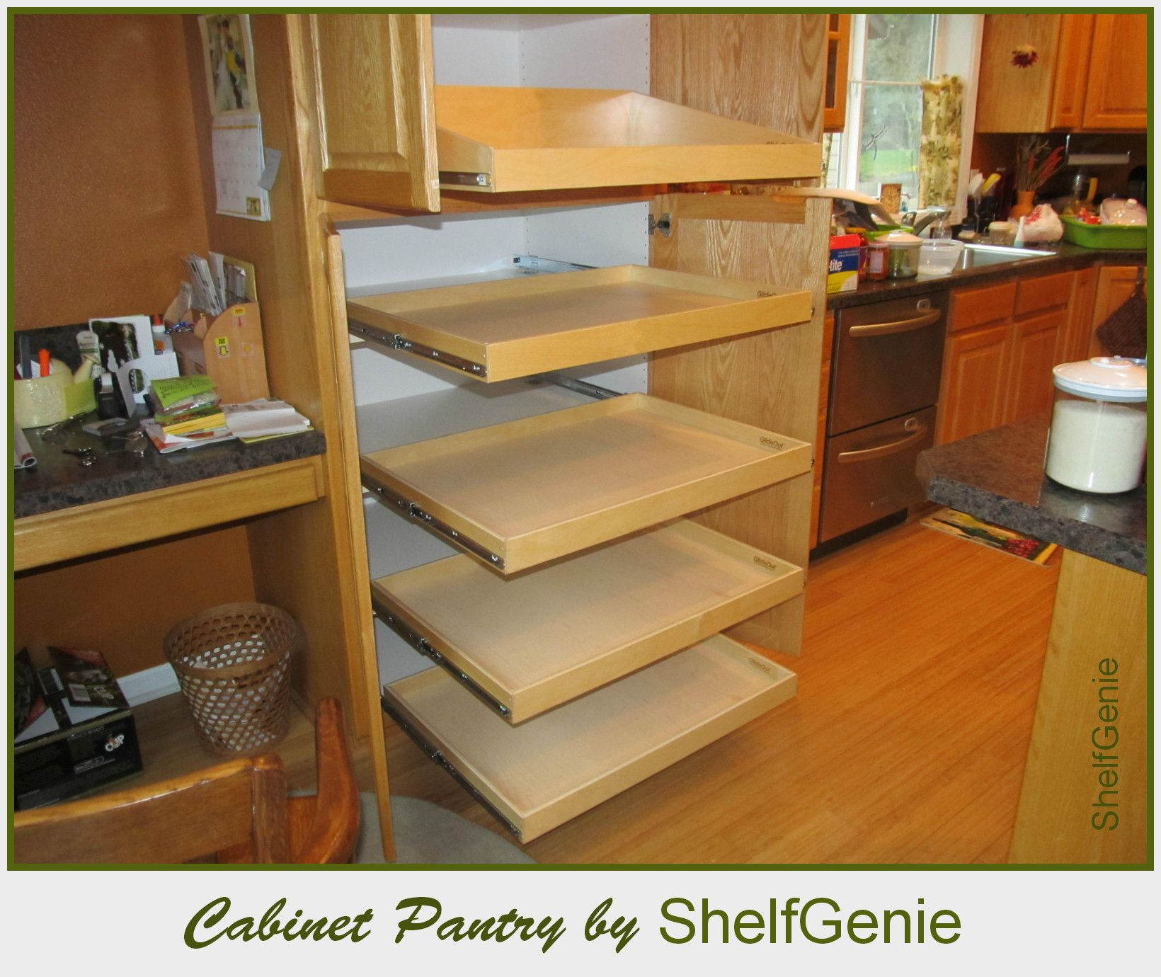 Kitchen Cabinets Slide Out Shelves Kitchen Pull Out Shelves Shelfgenie Of Long Island Roll