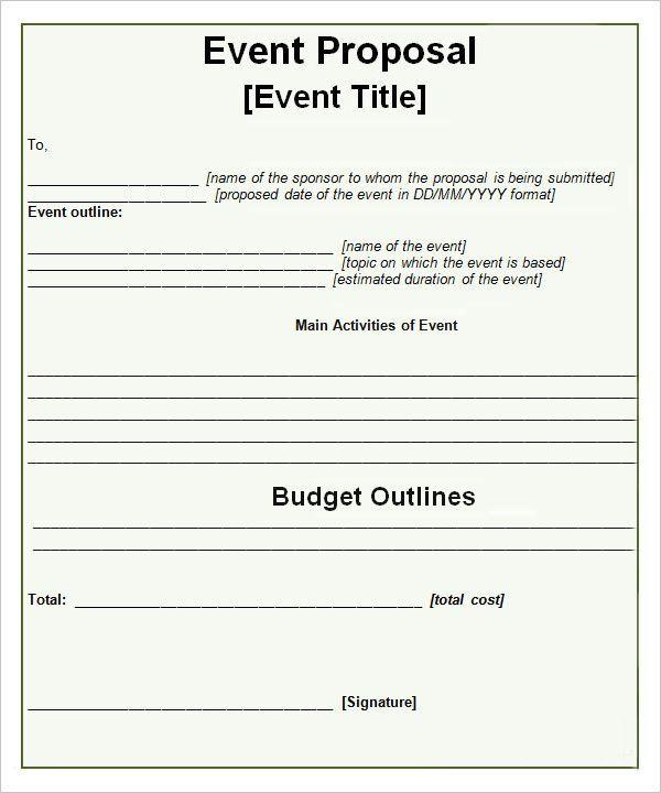 Event-Propsal-Template Paper Work work work Pinterest Event - event proposal template