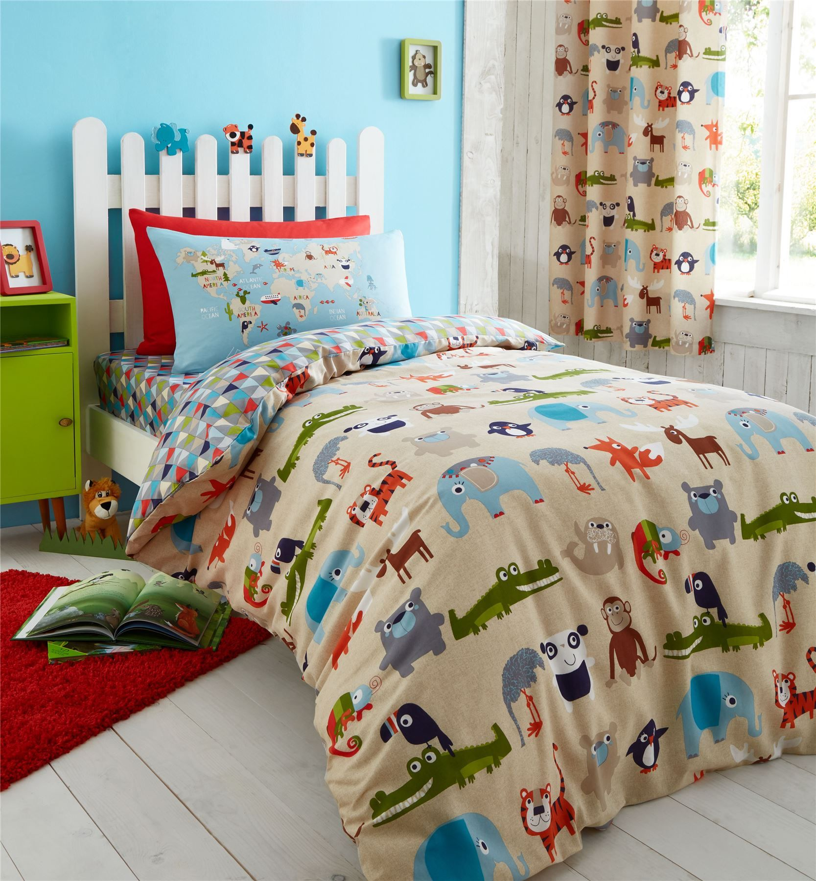 Comforter Cover Full Zoo Safari Animals Kids Bedding Twin Or Full Duvet Cover