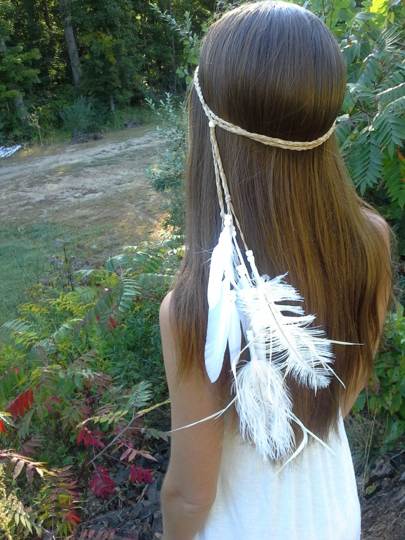 native american wedding dress New to dieselboutique on Etsy white Feather HeadBand Native American style wedding bridal boho wedding