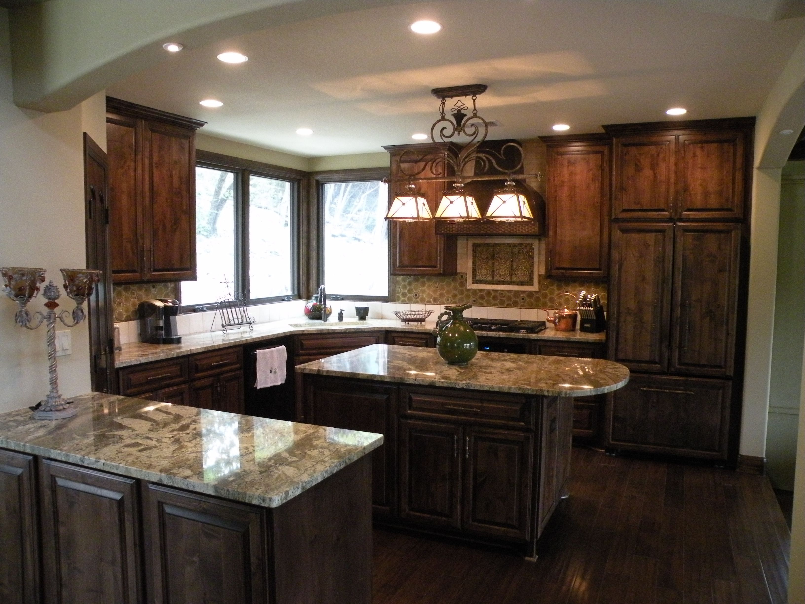 Dark Wood Cabinets In Kitchen Very Comfortable Kitchen Layout Cabinets Are Knotty Alder