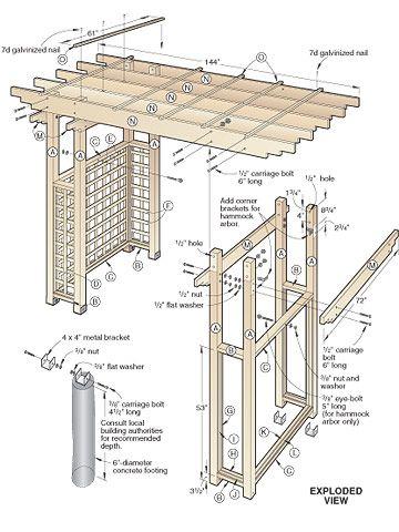 Garden Arbor Getaway Woodworking Plan Details Pinterest - garden arbor plans designs