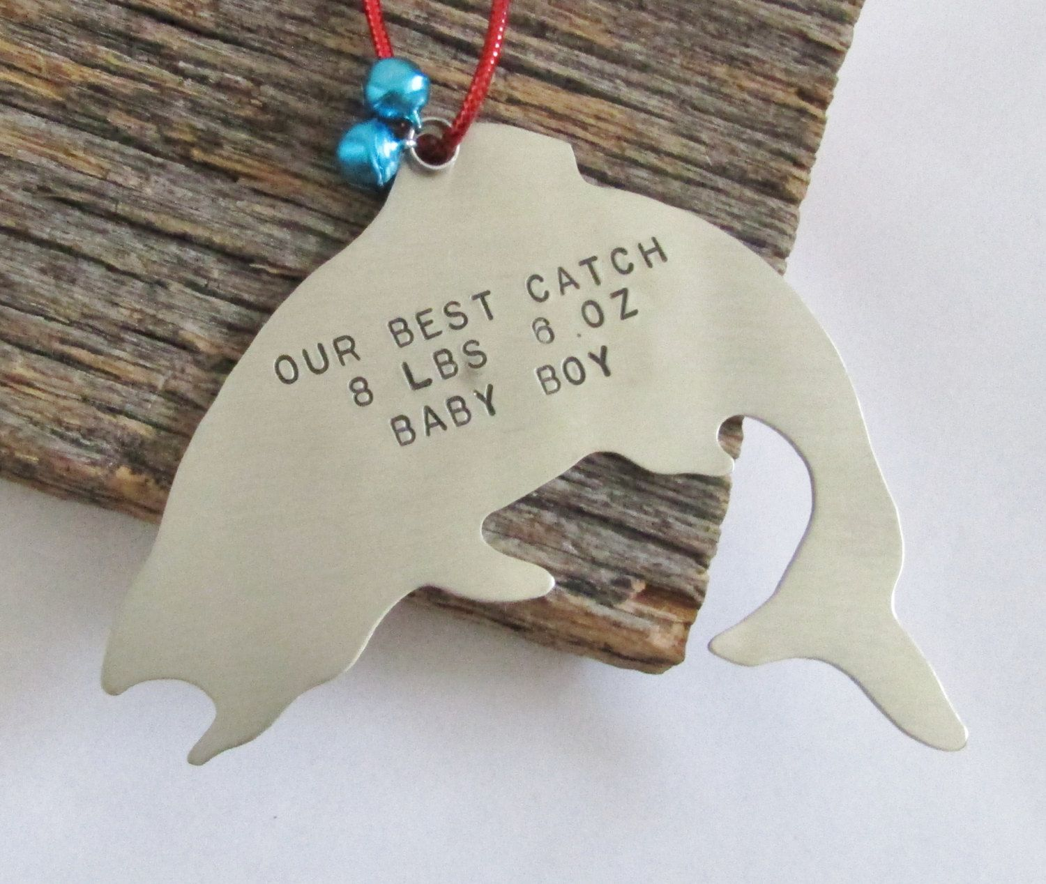 Personalized christmas ornament fishing ornament new baby ornament baby s 1st christmas ornament baby weight baby stats baby name ornaments