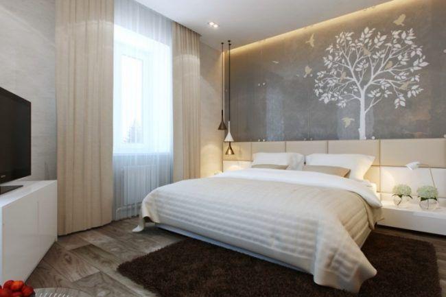 kleine schlafzimmer modern-wandgestaltung-weisser-baum-voegel - schlafzimmer creme wei