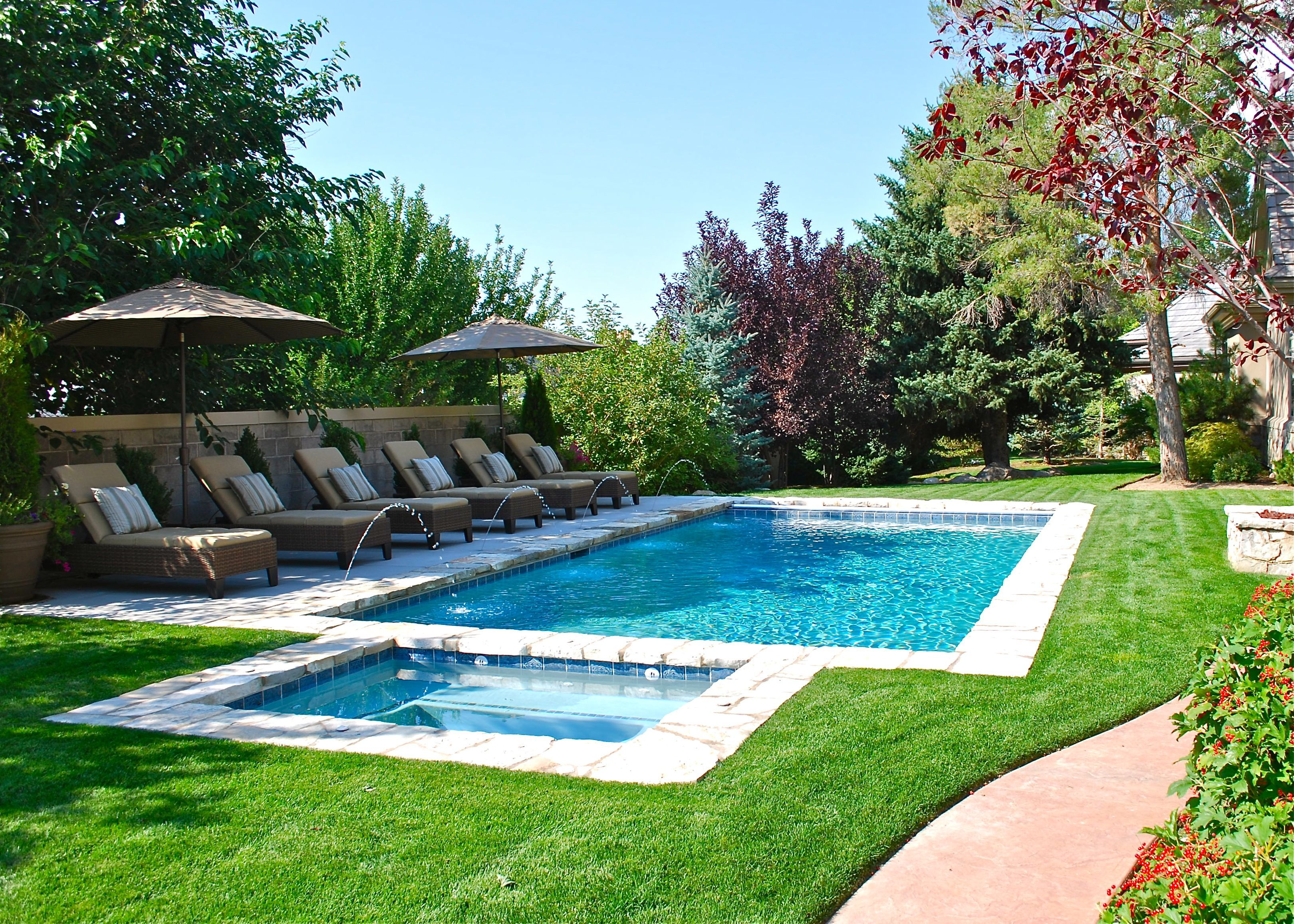 backyard swimming pool with minimal decking. deckjets and