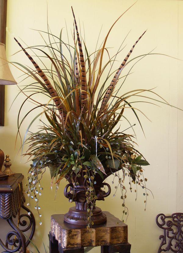 Grasses -Pheasant Feathers Floral Design NC120-10  Floral Home - silk arrangements for home decor