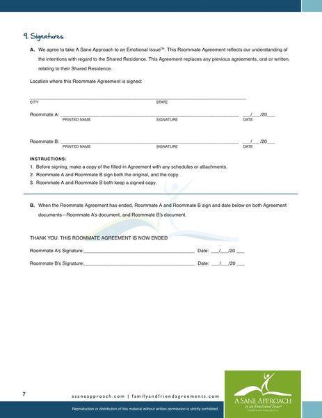 Printable Sample Roommate Agreement Template Form Real Estate - roommate agreement form