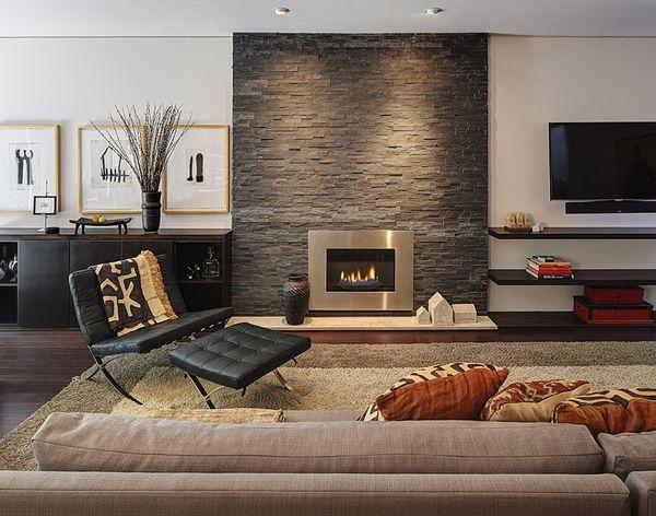 Mid-century modern ranch house renovation Wohnzimmer - kachelofen ideen