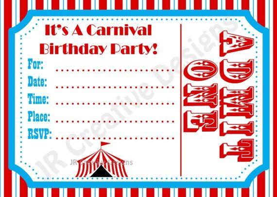 free carnival birthday invitations template - Google Search - free birthday invitations to print