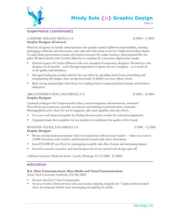 Graphic Designer-Page2 Designer Resume Samples Pinterest - resume graphic designer