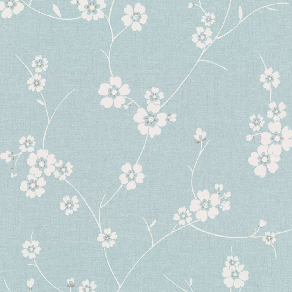 Duck Egg Wallpaper Bedroom Ideas Graham & Brown Blossom Wallpaper Duck Egg Blue / White