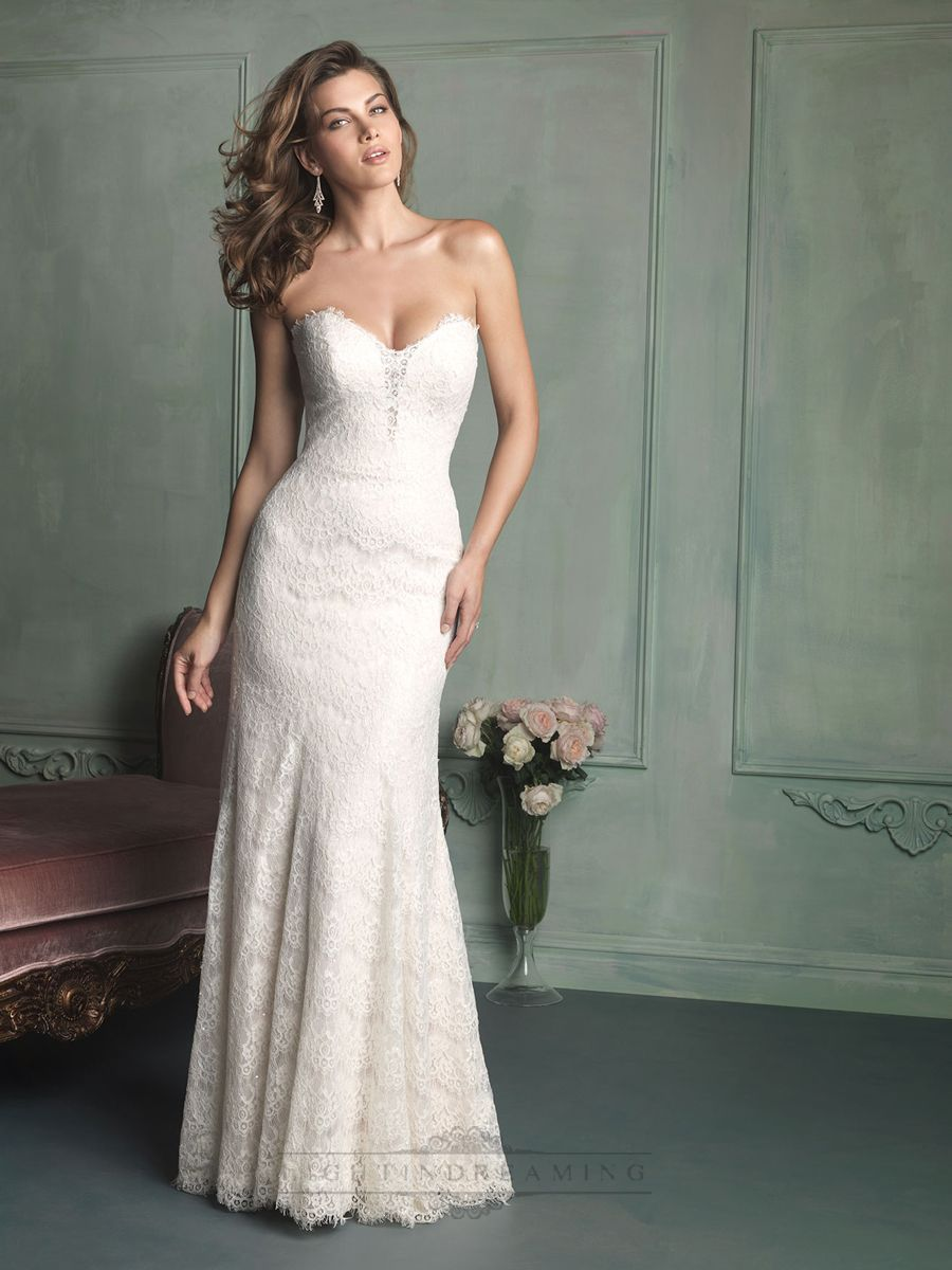 sweetheart lace wedding dress Simple Strapless Sweetheart Floor Length Lace Wedding Dress Wedding Dresses