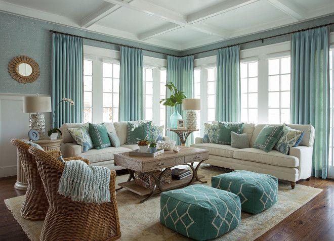 Turquoise Coastal Living Room Design Coastal living rooms - beach living room furniture