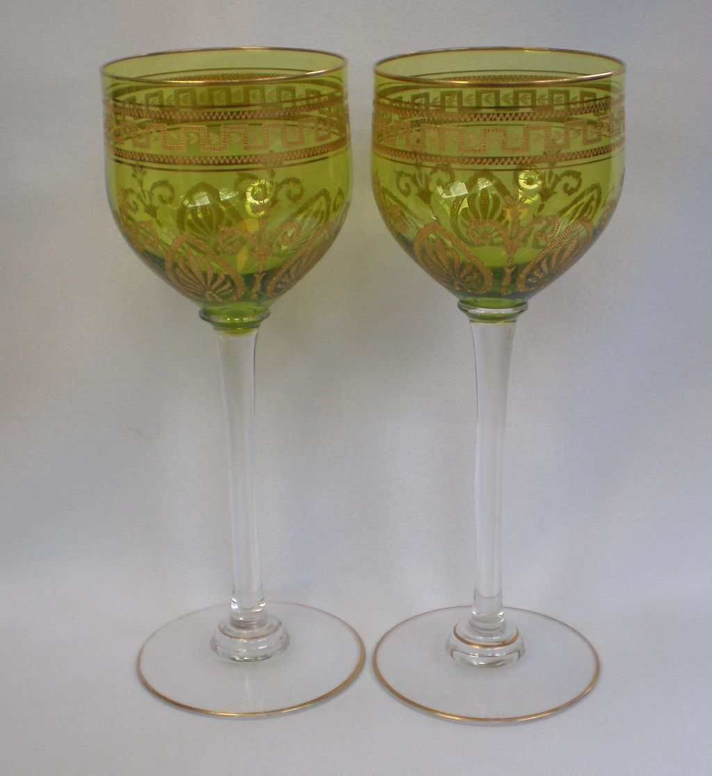 Crystal Stemware Wine Glasses Pair Crystal Stemmed Wine Glasses Vintage 1920 39s From
