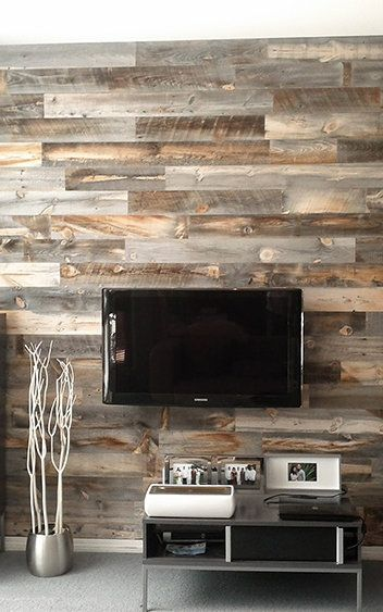 Peel-And-Stick Wood Panels Provide An Instant Reclaimed Look Co - wood wall living room