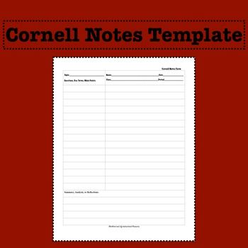 Use this Cornell Notes Template to guide your students in taking - cornell note template