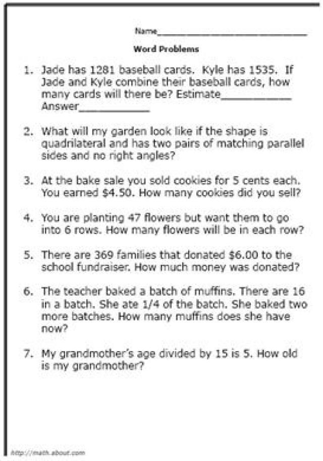 Practice Your Elementary Math Skills With These Word Problems - sample word problem worksheets