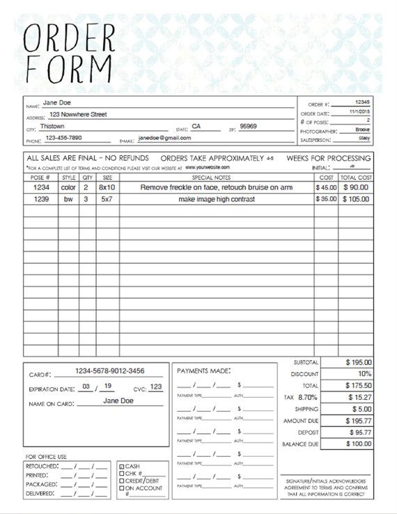 PDF General Photography Sales Order Form Template - Fillable Adobe - client information form template