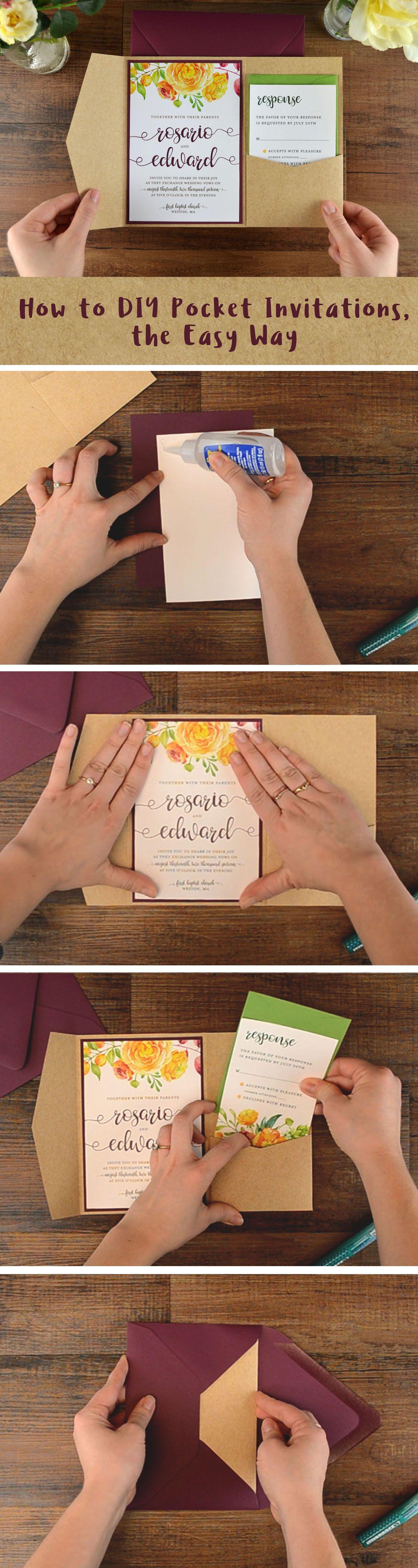 cheap wedding invites Easy DIY Pocket Invitation It s easy to create cheap wedding invitations when you DIY