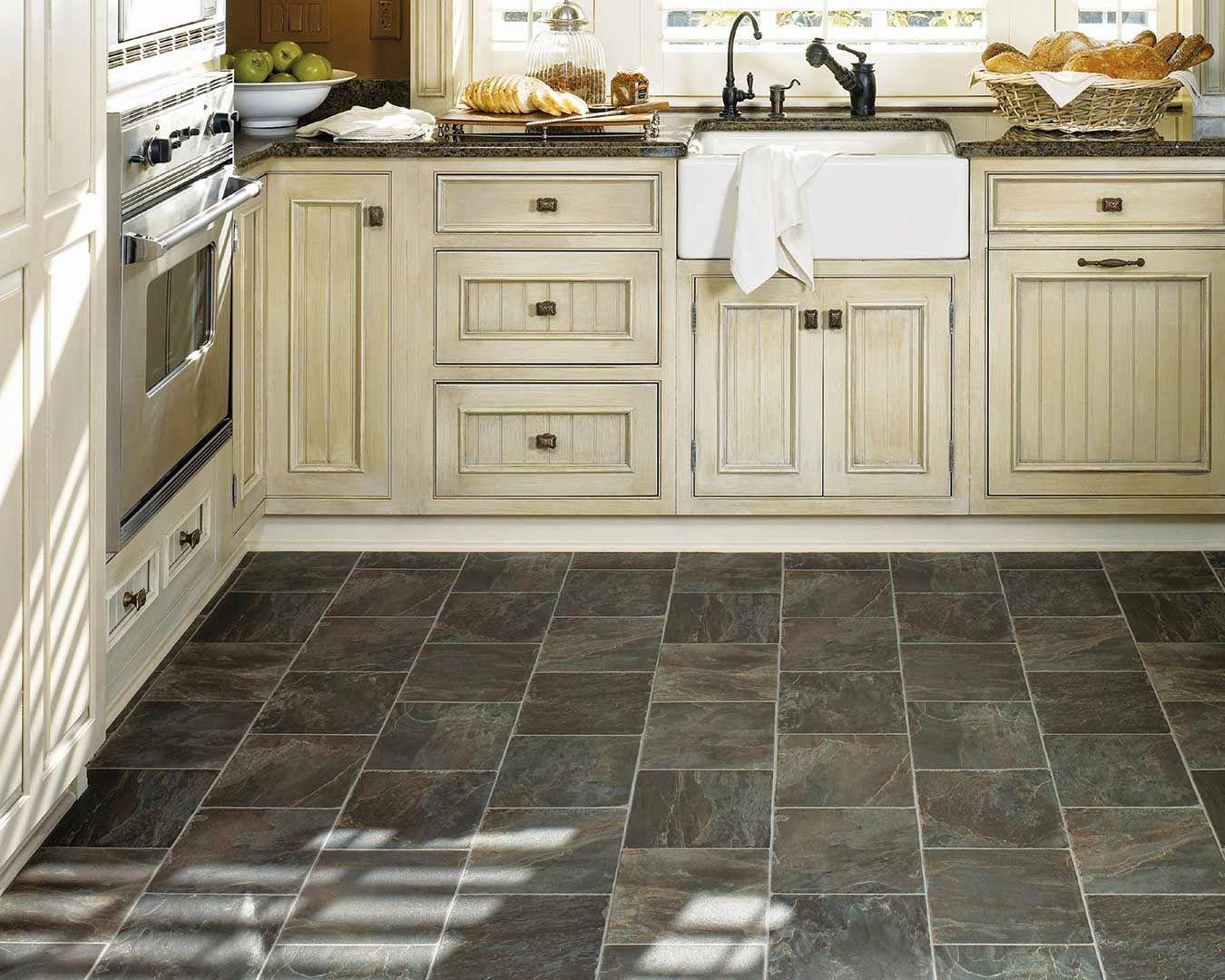 kitchen flooring types pickled oak cabinets dark floors Best Black Vinyl Sheet Flooring For Small Kitchen With Old
