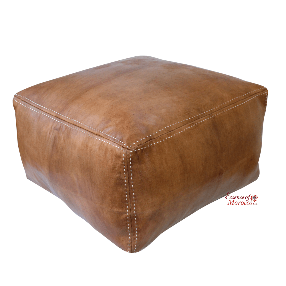 Moroccan pouf ottoman stuffed in the uk large square genuine leather natural tan handmade hand