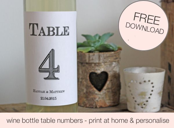 FREE Download Printable Wedding Table Numbers Template For Wine - free wine bottle label templates