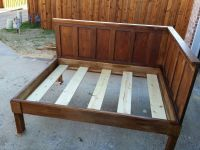 Bedroom, DIY Corner Wood Bed Frame With High Headboard For ...
